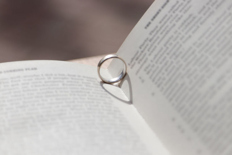 Close-up of open book with ring