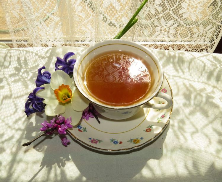 Teatime Flower Cup Saucer Floral Pattern Food And Drink Close-up Tea - Hot Drink Flowers & Food Lace Reflections And Shadows