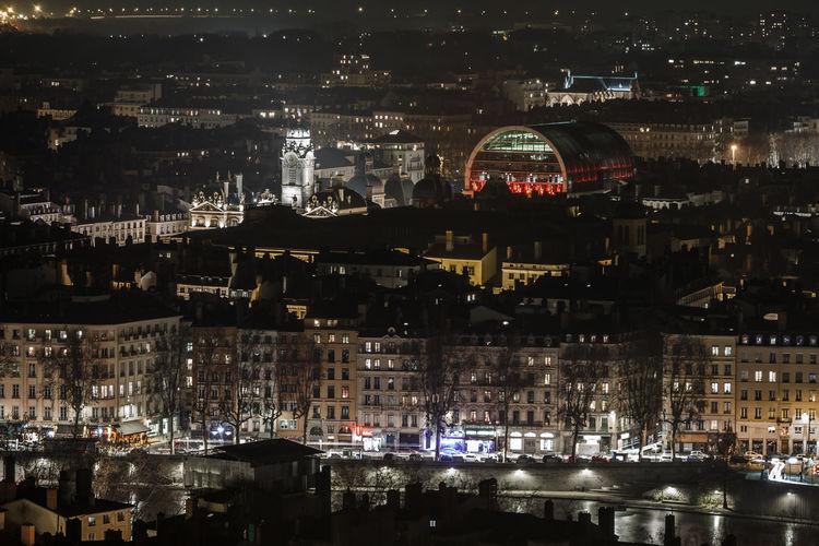 By Night City Cityscape Illuminated Lyon By Night Lyon France Night Night Lights Nightphotography