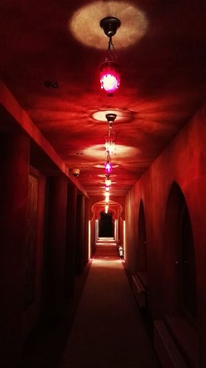 Lights Corridor Red Design Decoration Mysterious Luminosity Arabic Style Arabic Arch Inndor Indoors  Indoor Photography Interior Design Interior Atmosphere In A Row Indoors  No People Illuminated Architecture