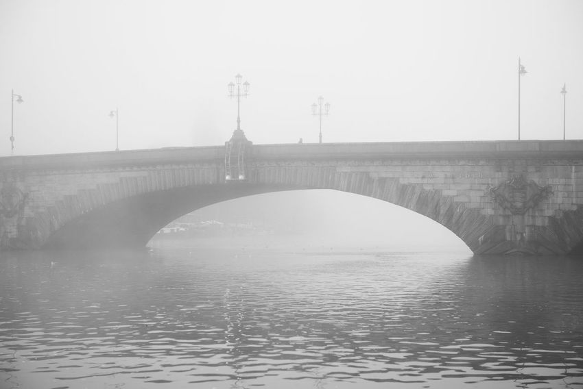 Architecture Black And White Blackandwhite Bridge Bridge - Man Made Structure Connection Day Fog Foggy Foggy Day Foggy Landscape Kew Bridge London No People Outdoors River Street Light Thames Thames River Urban Landscape Water