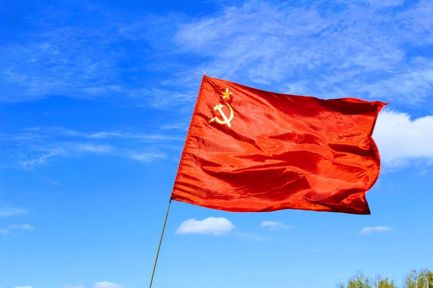 Historical Reconstruction Historical Reenactment Blue Cloud - Sky Day Flag Kulikovo Field Low Angle View No People Outdoors Patriotism Pride Red Sky Ussr Flag Wind