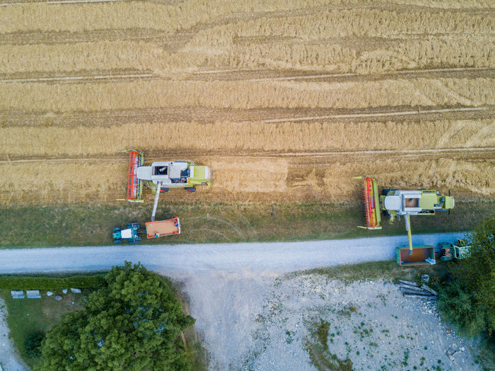 Aerial View Agriculture Combine Harvester Day Field Growth Nature No People Outdoors Rural Scene