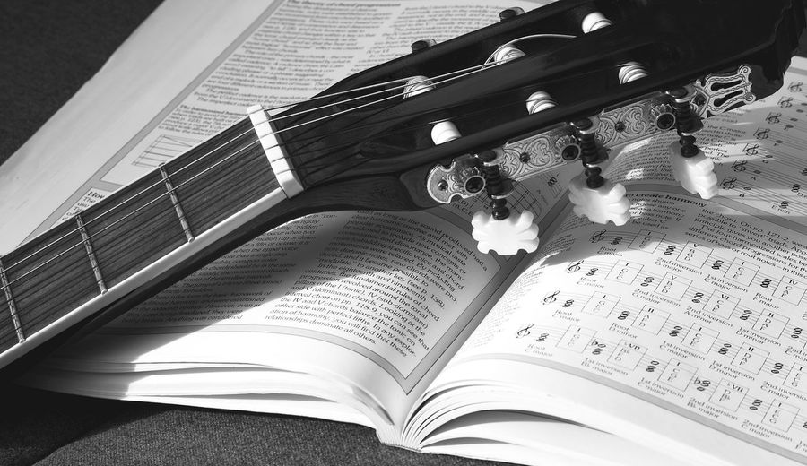 Blackandwhite Chords Day Education Guitar Guitar Handbook Hobby Indoors  Learning Low Angle View Music Music Education No People Reflections Sunlight