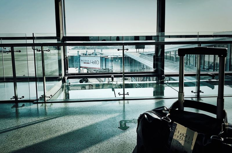 Transportation Mode Of Transportation Sky Window Glass - Material Nature Day Airport No People Travel Waiting Railing Water
