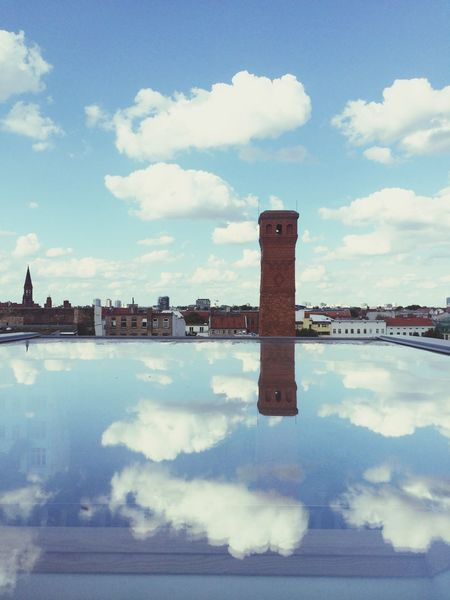 Above us only sky... (Below us too) Reflection Brick Chimney