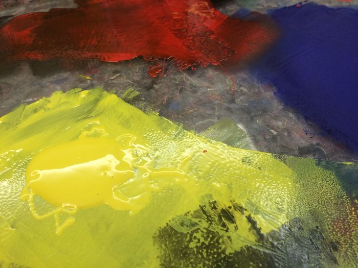 Blue, red and (fresh) yellow paint Art Blue Color Colors Colour Colours Mix Paint Paiting Print Printer Colour Red Yellow