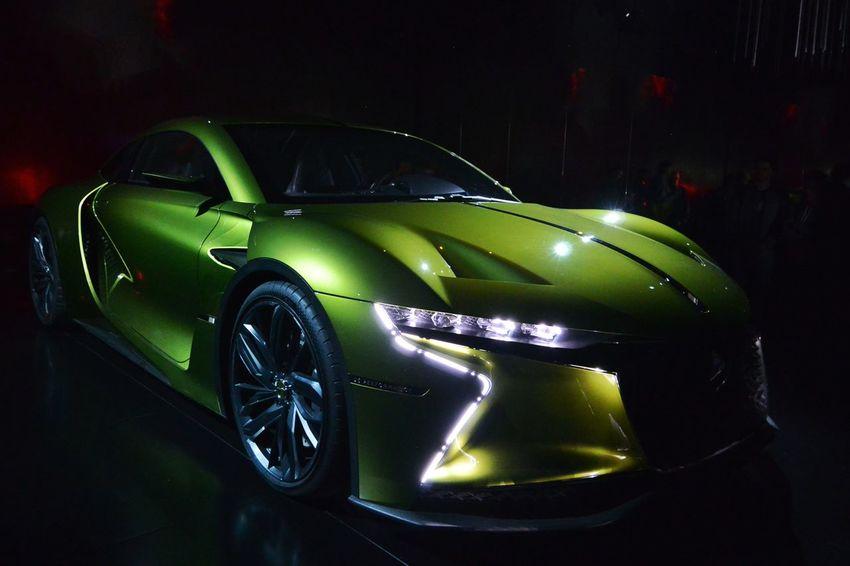 Car Conceptcar Ds DS E-Tense French Car Front Lights Green Color Indoors  Paris International Motor Show 2016