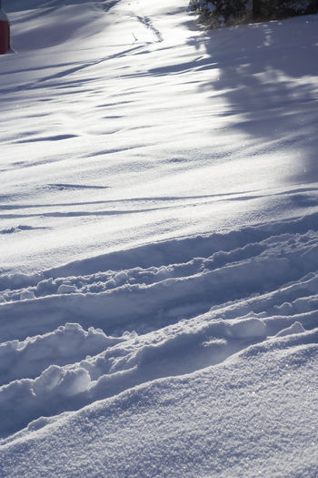 High angle view of snow against sky