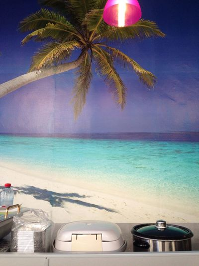 Beach Palm Tree Poster Restaurant Rice Cooker Still Life Thai Restaurant