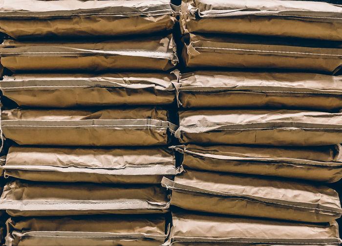 Full frame shot of paper bags