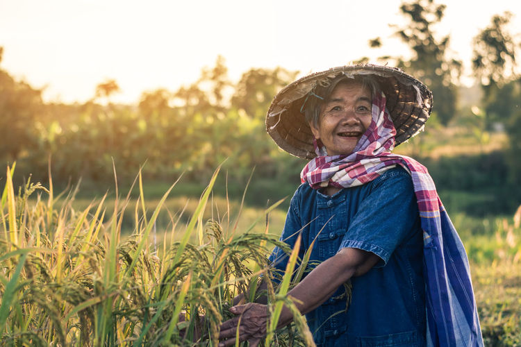 Farmer Lifestyle Rice Thailand Food Grandmother Nature One Person Outdoors