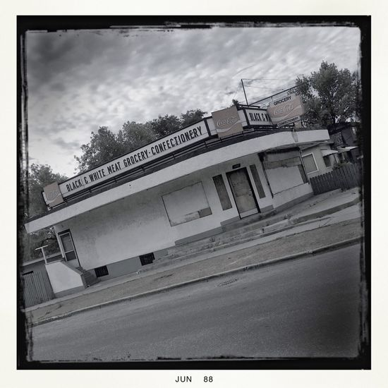 Black and White Meat Grocery. Blackandwhite Architecture Building Exterior