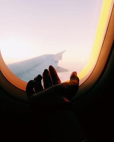 Hand Plane Human Body Part Colors Sunset Window Flying Orange