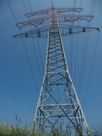 Blue Built Structure Cable Clear Sky Complexity Connection Day Electrical Equipment Electricity  Electricity Pylon Fuel And Power Generation Low Angle View Metal Nature No People Outdoors Power Line  Power Supply Sky Tall - High Technology