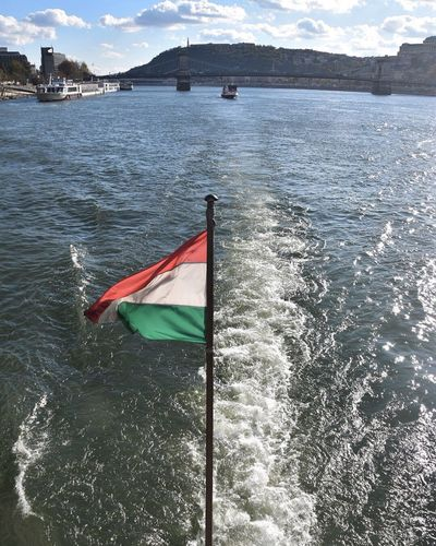 Water Flag Sea Patriotism Waterfront Nautical Vessel No People Day Outdoors Wake - Water Nature Beauty In Nature Budapest Danubio