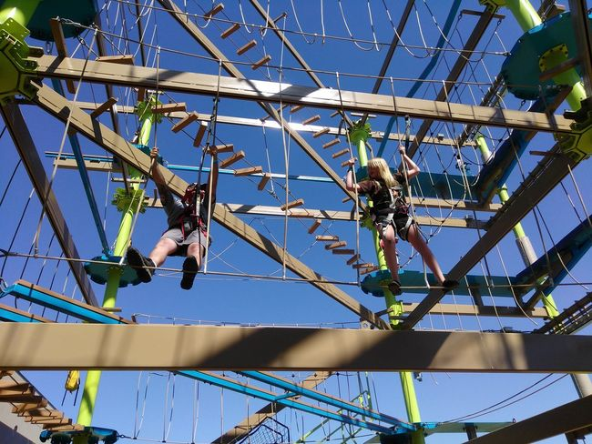 Low Angle View Day Blue Outdoors Ropes Course Obstacle Course Family Fun Childhood Conquering  Conquering Fear