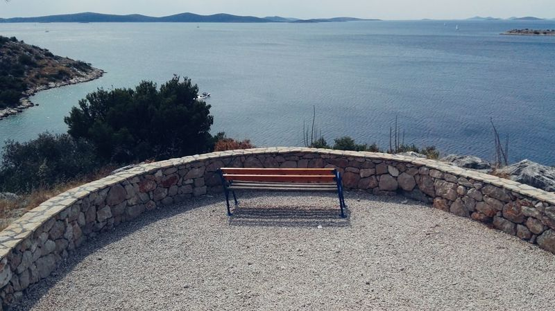 Bench From Where I Stand From My Point Of View Sea View Croatia Seascape Water Small Architecture Bench With A View Outdoors Travel Destinations Croatia 2017 Holidays In Croatia Vacations Summer Sea Adriatic Tribunj (Tribunj, Croatia - August 2017)