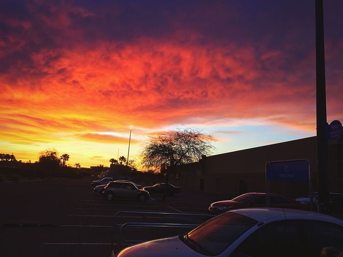 Fiery Sky outside a Walmart parking lot. Just goes to show you, that you can find beauty anywhere, just take time to look.💫 (https://paypal.me/pools/c/83C98Mcfza) Loving Photography Beautiful Sunrise Me Alone Beauty In Nature Beauty In Ordinary Things Parking Lot Photography IPhone Photography Dawn Sky Cloud - Sky Motor Vehicle No People Silhouette Tree Car