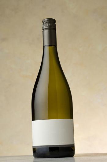 Chardonnay wine, blank label Alcohol Blank Bottle Shot Chardonnay Closed Glass No Label No People No Vintage Product Photography Still Life Studio Shot Vertical Composition White Wine Wine Wine Bottle