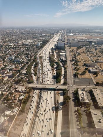 EyeEm Selects LAX Aerial View No People Urban Skyline Highway Transportation Outdoors 405 Freeway California Final Approach Traffic Road