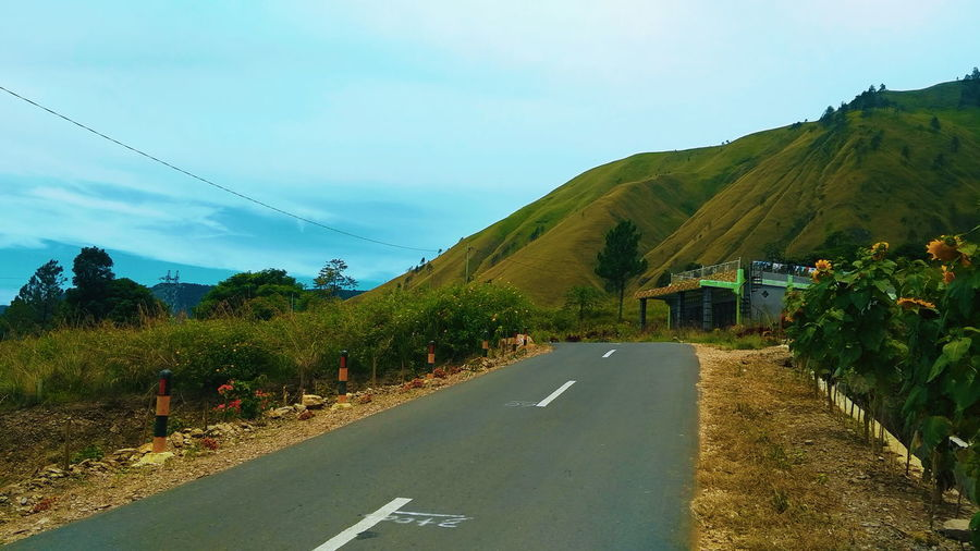 Rural Scene Agriculture Road Tree Mountain Autumn Curve Sky Landscape Plant Empty Road vanishing point Diminishing Perspective Cultivated Land Farmland Road Marking Agricultural Field Asphalt Dividing Line The Way Forward