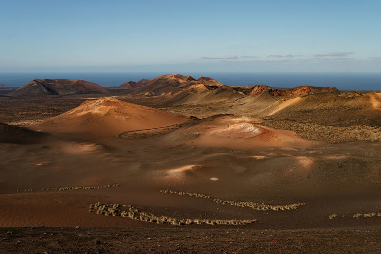 High angle view of colorful volcanic landscape at timanfaya national park on lanzarote