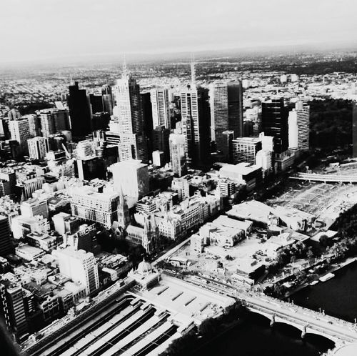 City Skyscraper Tall - High High Angle View Travel Destinations Melbourne City Sky Black And White