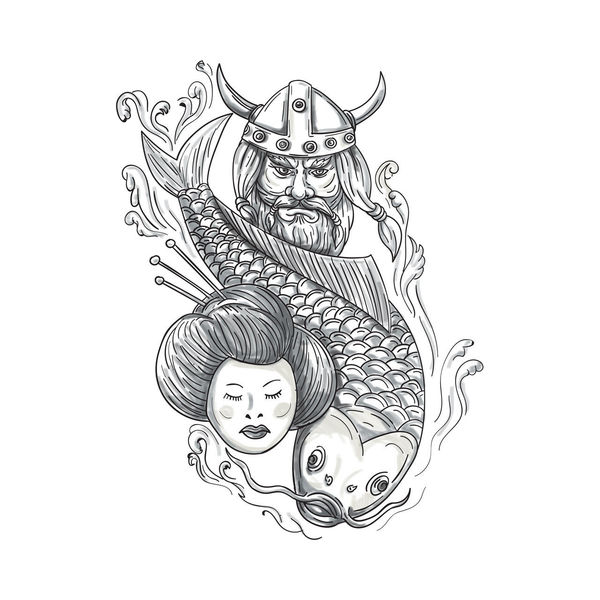 Tattoo style illustration of a head of a norseman viking warrior raider barbarian wearing horned helmet with beard, koi carp fish diving and geisha girl viewed from front set on isolated white background. Barbarian Beard Carp Charcoal Drawing Fish Geisha Girl HEAD Horned Helmet Indoors  Ink Koi Norseman Raider Sketch Tattoo Tattooing Traditional Tattoo Viking Warrior White Background