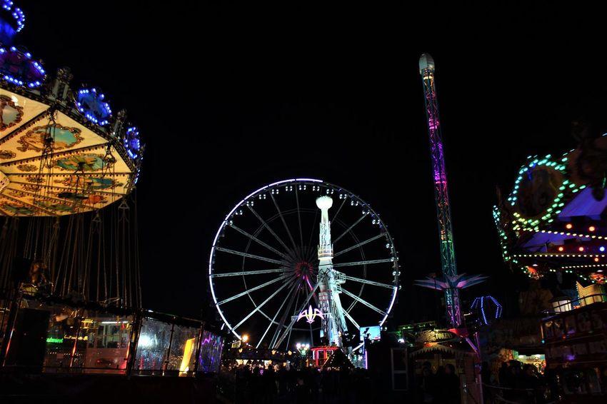 Amusement Park Amusement Park Ride Arts Culture And Entertainment Ferris Wheel Illuminated London London Lifestyle LONDON❤ Night Travel Destinations Traveling Carnival Winterwonderland