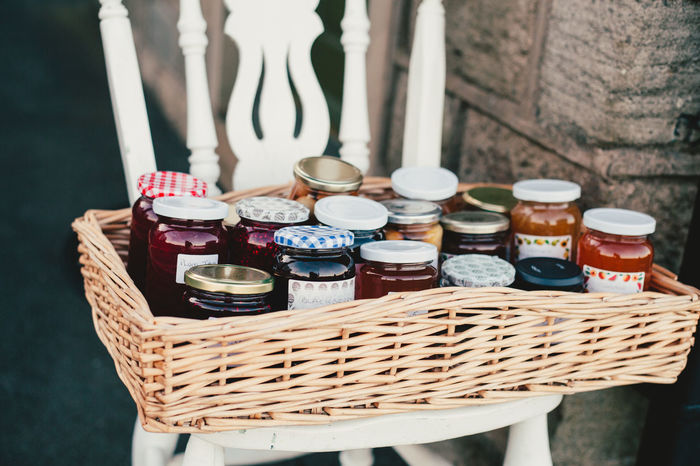 Basket Chair Close-up Container Home Made Jam Jam Jar Jars  Lifestyles Marmalade No People Outdoors Rural Life