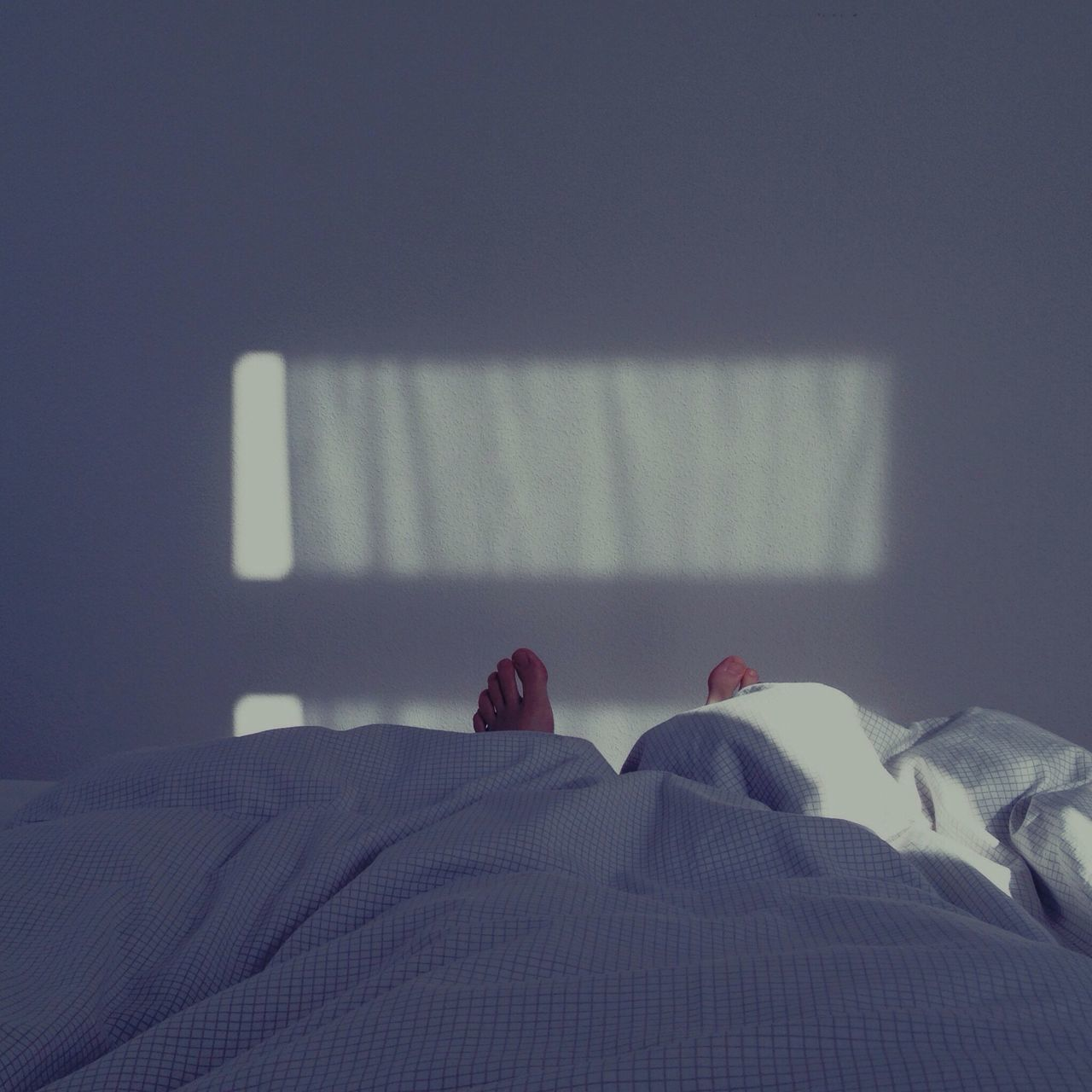Low section of person lying in bed