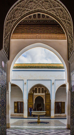 Archs Arcade Arch Arched Architectural Column Architecture Archway Building Exterior Built Structure Day Door Entrance Entry Façade Famous Place History Marrakech Marrakesh Morocco Mosque Past Place Of Worship Tourism