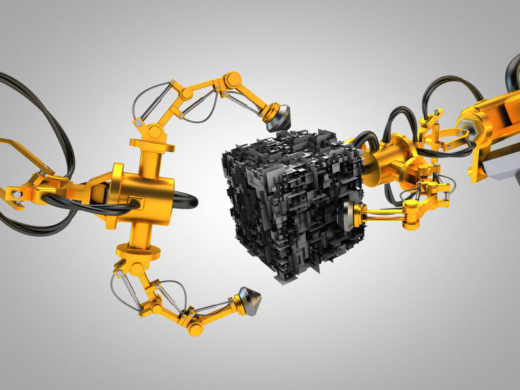 robotic hydraulic arms 3D 3d Rendering Cube Tech Technics Grab Something Gray Background Hydraulic Hydraulic System Hydraulics  Rendering Robotic Robotic Arm Robotic Arms Robotic Hydraulic Arms Robotics Technical Technical Design Technical Detail Technology To Grab To Grab Sth.