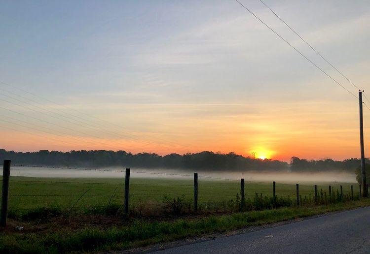 Sunrise Over Misty Field Sunrise Sky Cloud - Sky Scenics - Nature Land Field Landscape Fence Rural Scene No People