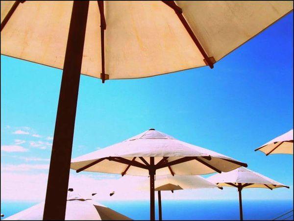 Sky scrapers Umbrella Beach Umbrella Beach Canopy Relaxation Summer Below Vacations Sea Day Nature