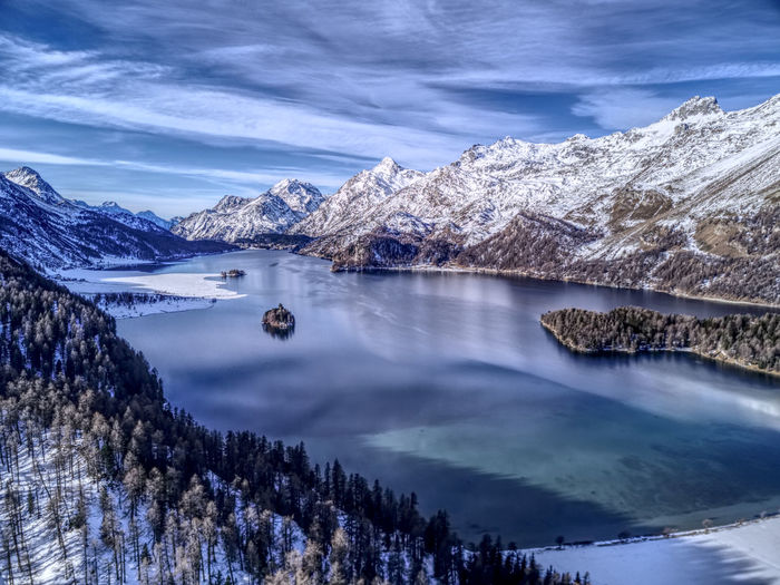 Drone  Aerial Photography Beauty In Nature Cold Temperature Day Dronephotography Engadin Idyllic Lake Landscape Mountain Mountain Range Nature No People Outdoors Scenics Sky Snow Snowcapped Mountain Tranquil Scene Tranquility Travel Destinations Tree Water Winter