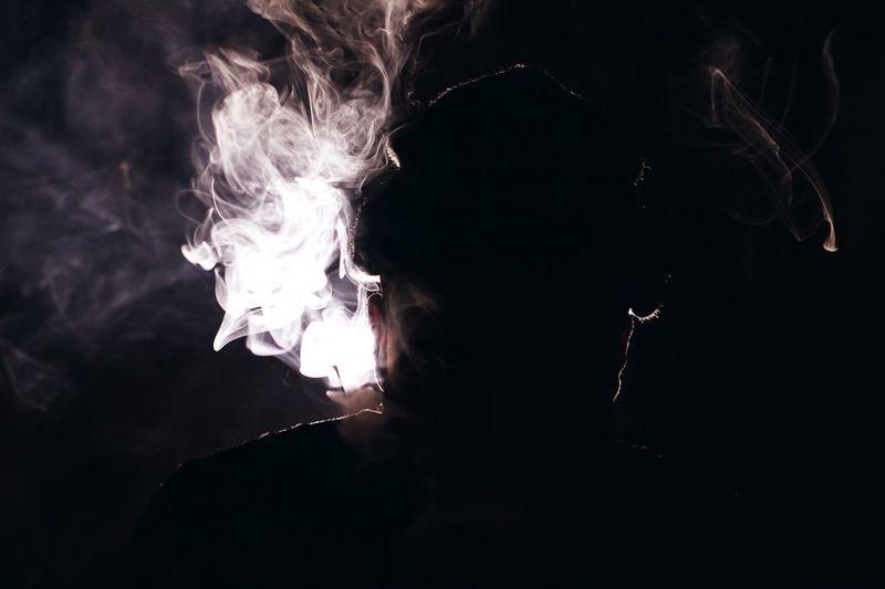 Shillouette Smoke Dark Black Light Studio Shot