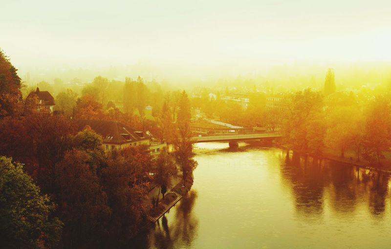 Bridge - Man Made Structure Evening Light Foggy Evening Mist Misty 645z Beauty In Nature Sunlight From My Point Of View EyeEm Gallery EyeEm Best Shots Sky Sky_collection Sky And Clouds EyeEmBestPics Hello Bern Fun With Color Fall Beauty
