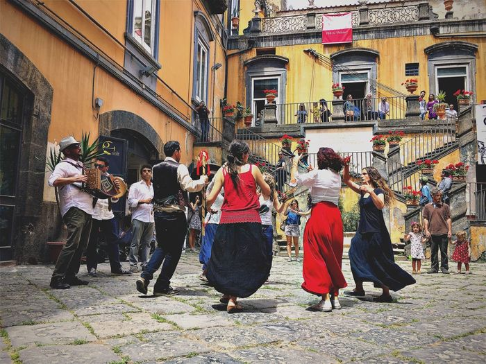 Large Group Of People Building Exterior Built Structure Architecture Real People Men Street Outdoors Music Arts Culture And Entertainment Musical Instrument Women Day City Musician Full Length Adult People Adults Only Tarantella Italian Music Italy Live Music Culture