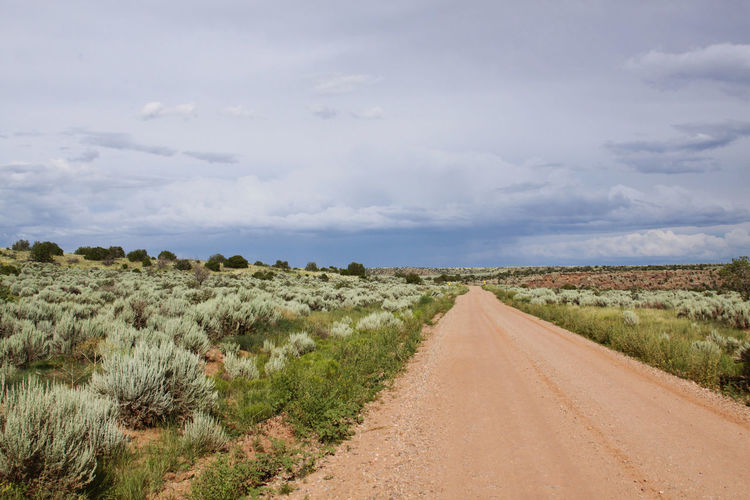 Scenic View Of Country Road Along Green Landscape Against Cloudy Sky