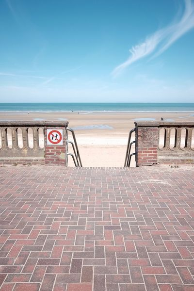 Beautiful beach day. Beach Beach Photography Beachphotography France Normandie Blue Sky Perspective Perspectives Point Of View Stairs Signs Urbex Urban Architecture The Architect - 2016 EyeEm Awards