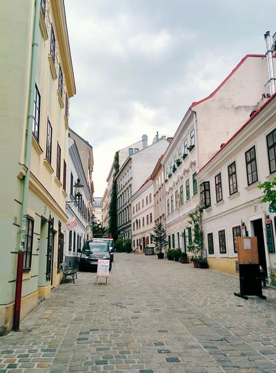 Vienna, Vienna ... Calle Streetphotography Narrow Street Cobblestone Streets Old Buildings The Architect - 2016 EyeEm Awards Architecture Street Portrait Vienna Old But Awesome I Love My City Street Perspective Perspective View Houses In A Row Sulky Bright Colors Chilly Day Clean Streets