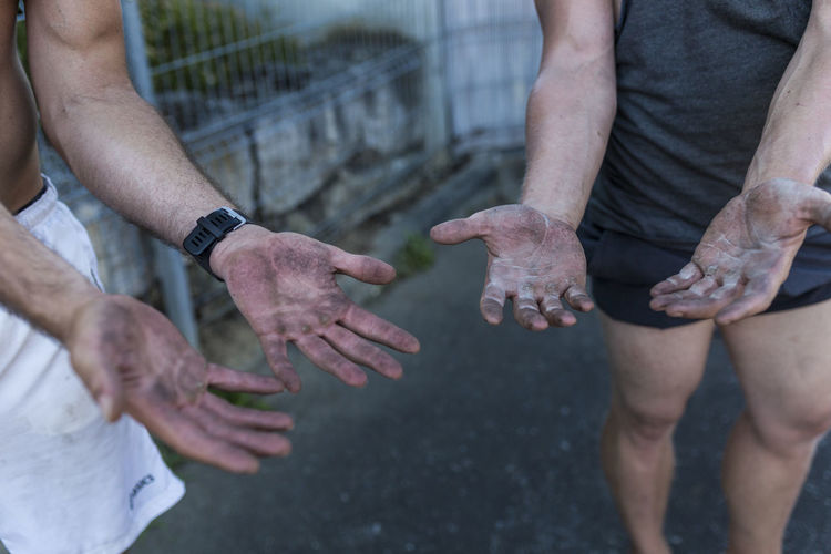 Close-up Dirty Hands Fit Fitness Hands Human Body Part Human Hand Men Motivation Outdoors Training Water Workout
