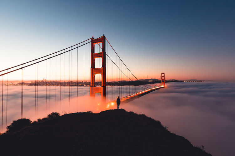 Golden gate bridge and cloudscape during sunset
