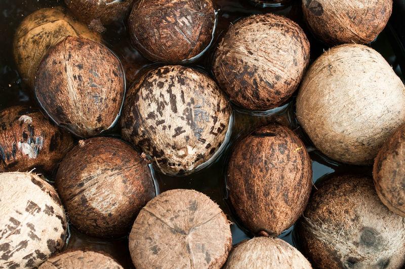 Full frame shot of coconuts