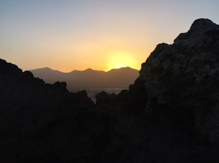 Lanzorote Mountain Beauty In Nature Nature Sunset Scenics Tranquility Tranquil Scene Silhouette No People Mountain Range Sky Outdoors Day