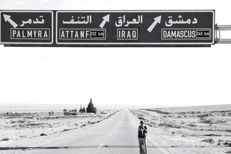 Syria Roadtrip Highway Highways&Freeways Damascus  Baghdad Palmyra Roadtrip Iraq Syria  Sign Land Road Communication Direction Day The Photojournalist - 2018 EyeEm Awards Information Sign Sand Transportation Road Sign Outdoors The Photojournalist - 2018 EyeEm Awards The Traveler - 2018 EyeEm Awards