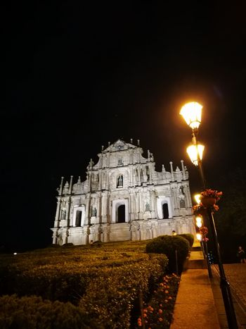Architecture Travel Destinations Night History Macau Ruins Of St.Paul's Senado Square