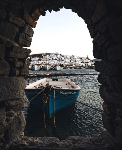 Paros Travel Destinations Greece Travel Photography EyeEmNewHere EyeEm Selects Cyclades Frameinframe EyeEm Gallery The Week on EyeEm Vacations Beautifuldestinations Architecture Water Built Structure Building Exterior Nature Sky Arch Nautical Vessel Travel Destinations Transportation